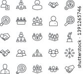 thin line icon set   handshake... | Shutterstock .eps vector #1391265746