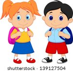 boy and girl with backpacks   Shutterstock . vector #139127504