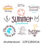 summer travel doodle style... | Shutterstock .eps vector #1391283416