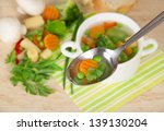 soup in a spoon a set of...