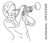 man playing trumpet vector... | Shutterstock .eps vector #1391319269