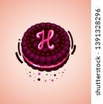 vector brown cookie and pink... | Shutterstock .eps vector #1391328296