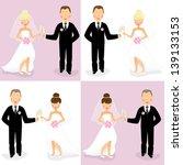 set of happy caucasian wedding... | Shutterstock . vector #139133153
