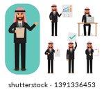 set of working arab people on... | Shutterstock .eps vector #1391336453