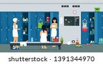 female athlete room with... | Shutterstock .eps vector #1391344970