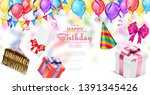 realistic happy birthday... | Shutterstock .eps vector #1391345426
