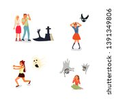 set of frightened people.... | Shutterstock .eps vector #1391349806