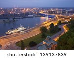 Szczecin (Stettin) City at night, river view from National Museum, Poland.