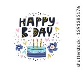 birthday cake with vector... | Shutterstock .eps vector #1391385176