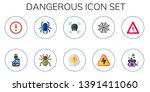 dangerous icon set. 10 flat... | Shutterstock .eps vector #1391411060