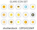 glare icon set. 15 flat glare... | Shutterstock .eps vector #1391411069