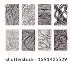 hand drawn wavy linear textures ... | Shutterstock .eps vector #1391425529