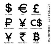 currency symbol icons set.... | Shutterstock .eps vector #1391431229