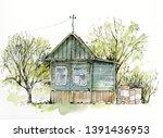 Sketch Watercolor Village...