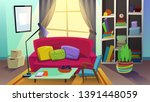 cozy living room with sofa... | Shutterstock .eps vector #1391448059