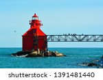 The lighthouse by the coastguard station in Sturgeon Bay WI