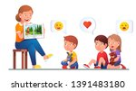 kindergarten teacher reading to ... | Shutterstock .eps vector #1391483180
