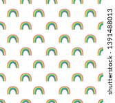 rainbow seamless pattern on... | Shutterstock .eps vector #1391488013