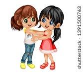 two lovely happy best friends... | Shutterstock .eps vector #1391500763