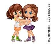 two lovely happy best friends... | Shutterstock .eps vector #1391500793