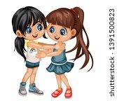 two lovely happy best friends... | Shutterstock .eps vector #1391500823
