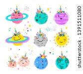 magic unicorn set with planets... | Shutterstock .eps vector #1391511080