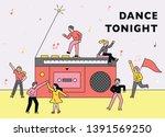 people dancing around huge... | Shutterstock .eps vector #1391569250