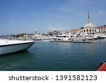 yacht parked in the seaport. | Shutterstock . vector #1391582123