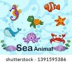 cute cartoon sea animals... | Shutterstock .eps vector #1391595386