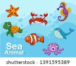 cute cartoon sea animals... | Shutterstock .eps vector #1391595389