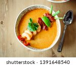 Stock photo tom yam kong ready to eat tom yum soup with shrimps on wooden table popular spicy thai dish tom 1391648540