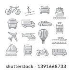 transport icons set on white... | Shutterstock . vector #1391668733