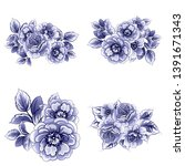 flowers set. collection of... | Shutterstock .eps vector #1391671343