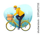 delivery service. cartoon young ...   Shutterstock .eps vector #1391692733