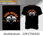 t shirt template with two skull ... | Shutterstock .eps vector #1391736533