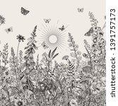 lovely garden. vintage... | Shutterstock .eps vector #1391757173