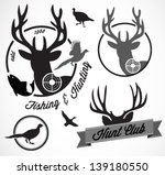 Collection of Vintage Retro Fishing and Hunting Badges and Labels - stock vector