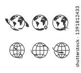 world icons set. earth globe... | Shutterstock . vector #1391812433