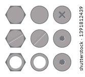 metal bolt heads set design... | Shutterstock . vector #1391812439
