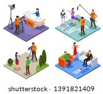 broadcasting 2x2 design concept ... | Shutterstock .eps vector #1391821409