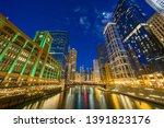 the chicago riverwalk cityscape ... | Shutterstock . vector #1391823176