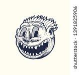 sinister smiling vampire  round ... | Shutterstock .eps vector #1391825906