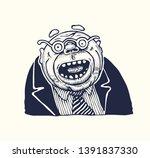 amazed man in round glasses.... | Shutterstock .eps vector #1391837330
