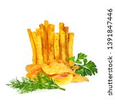 potato chips and french fries... | Shutterstock .eps vector #1391847446