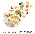 vegetables salad recipe. caesar ... | Shutterstock .eps vector #1391859803