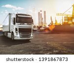 trailer truck in a harbor ready ... | Shutterstock . vector #1391867873