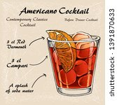 cocktail americano scetch ... | Shutterstock .eps vector #1391870633