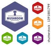 mushroom healthy icons vector... | Shutterstock .eps vector #1391881799