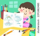 illustration of a kid girl... | Shutterstock .eps vector #1391882480