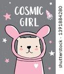 cosmic girl lovely hand drawn... | Shutterstock .eps vector #1391884280